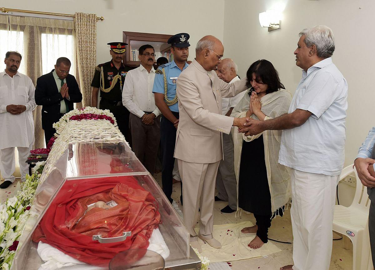 Hundreds Pay Homage To Sushma Swaraj At Her Delhi Residence