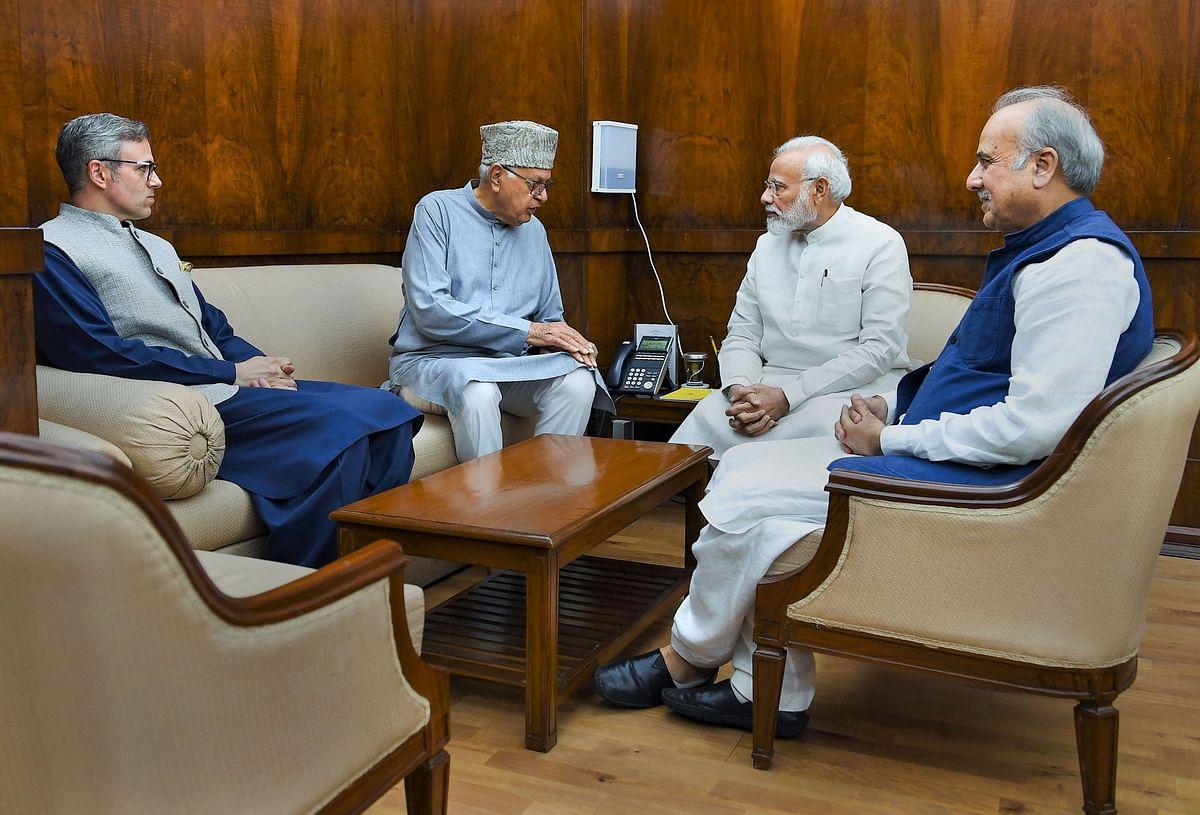 Farooq Abdullah, Omar Abdullah, and Hasnain Masoodi call on Prime Minister Narendra Modi, in New Delhi, on Aug. 1, 2019. (Photograph: PTI)