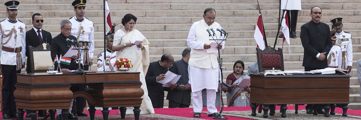 Arun Jaitley being sworn in as a union cabinet minister on May 26, 2014. (Photographer: Udit Kulshrestha/Bloomberg)