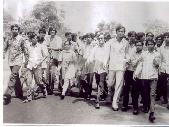 Arun Jaitley, third from right, elected President of the Delhi University Students Union, in 1974. (Photograph: Arun Jaitley's website)