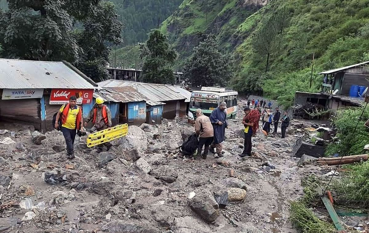 Rescue operations underway after a cloudburst at Arakot in Mori tehsil of Uttarakhand. (Source: PTI)