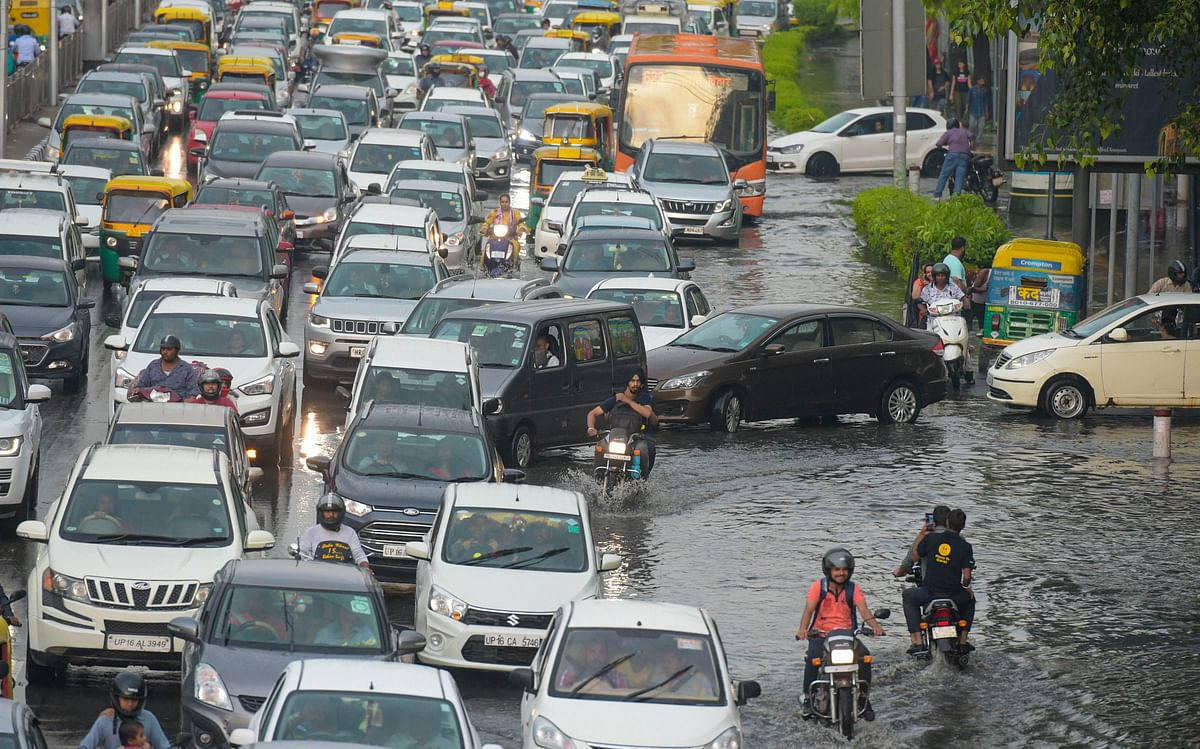 Traffic congestion due to water-logging following heavy monsoon rain at ITO in New Delhi, on July 21, 2019. (Photograph: PTI)