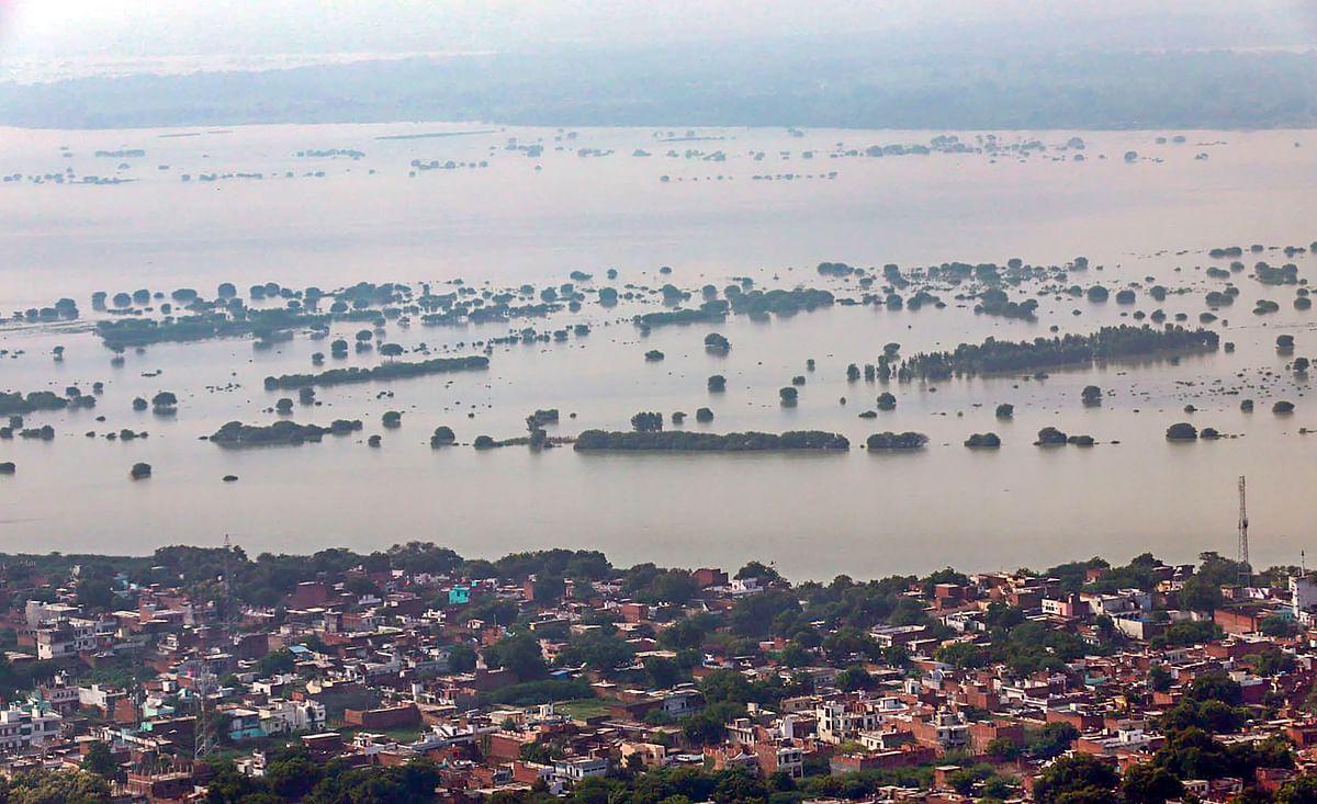 The flooded banks of the  Ganga,  in Prayagraj (Allahabad), on Sept. 19, 2019. (Photograph: PTI)