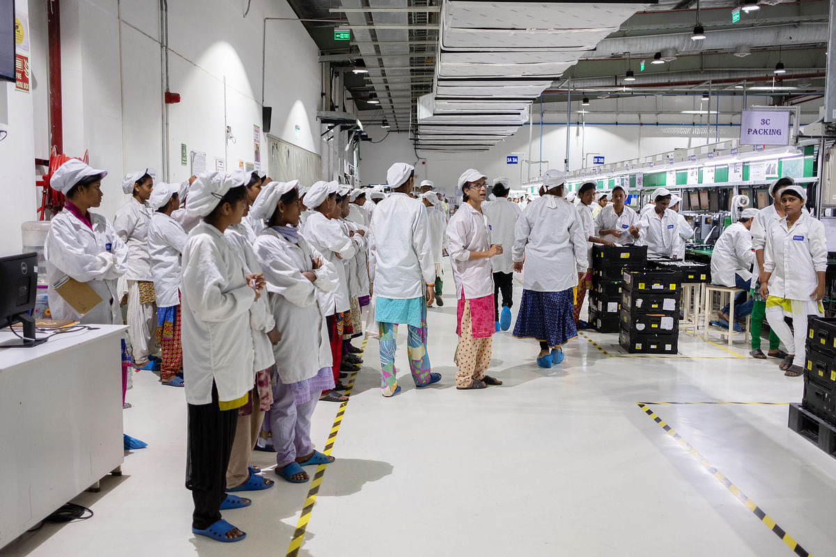 An assembly line in the Foxconn plant in Sriperumbudur, Tamil Nadu, on July 12, 2019. (Photographer: Karen Dias/Bloomberg)