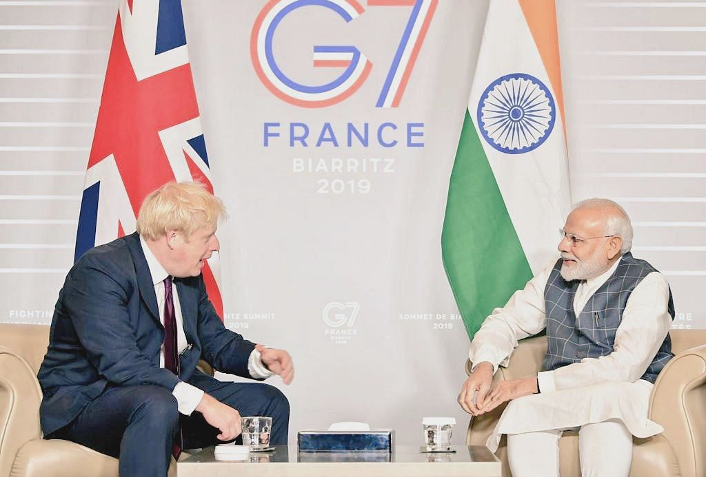 Prime Ministers Boris Johnson and Narendra Modi meet at the sidelines of the G7 Summit in Biarritz, France, on Aug. 26, 2019. (Photograph: Boris Johnson/Twitter)