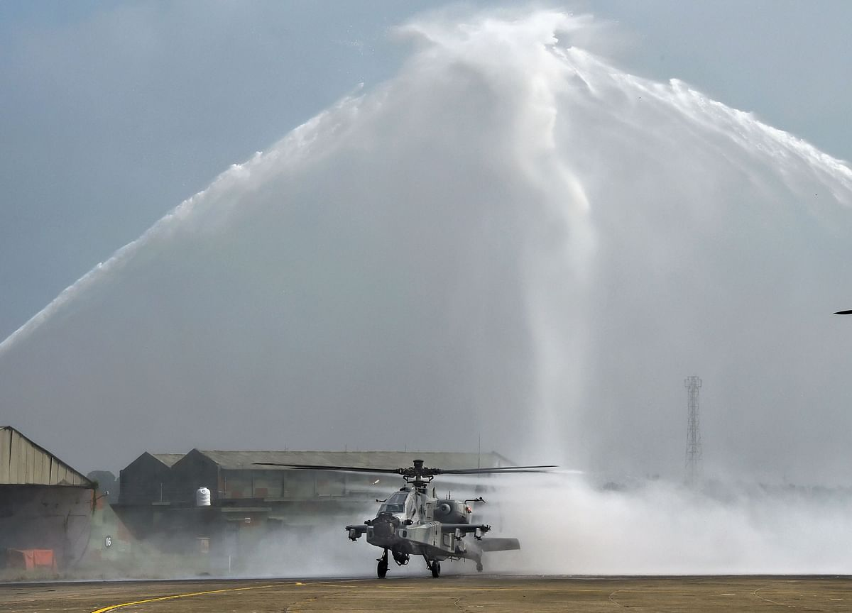 Indian Air Force Inducts Eight AH-64E Apache Helicopters At Pathankot