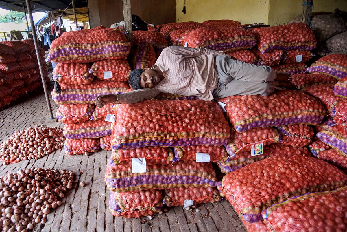 A labourer rests on sacks of onions at a wholesale market in Prayagraj. (Image courtesy: PTI)