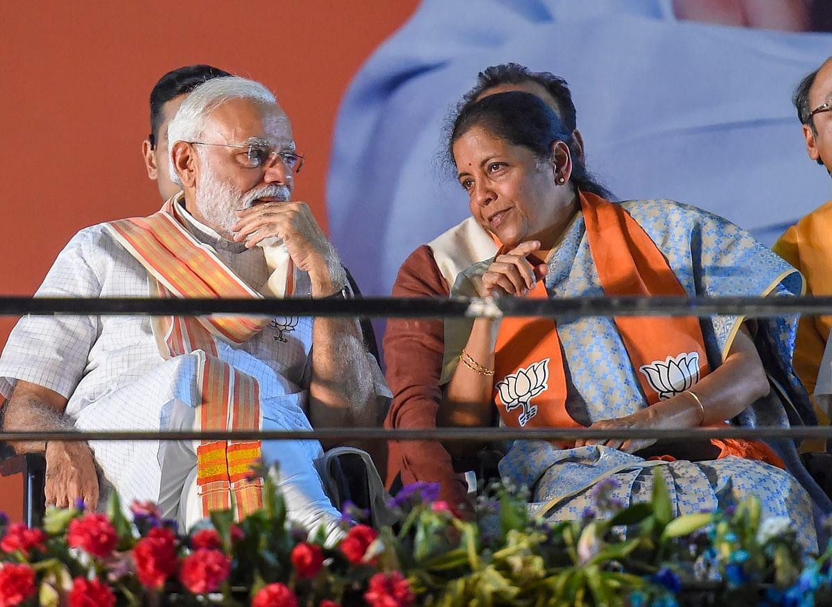 Prime Minister Narendra Modi  with Finance Minister Nirmala Sitharaman, in in New Delhi. (Photograph: PTI)
