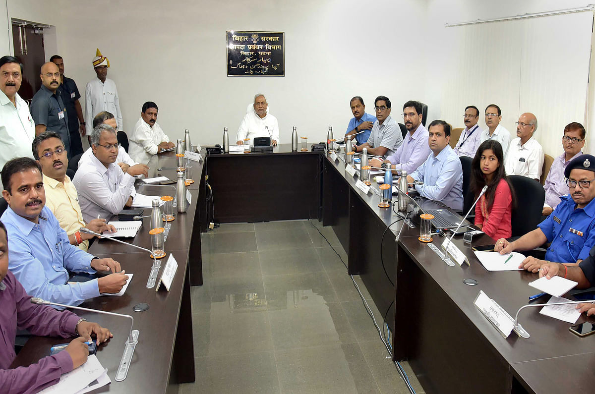 Bihar Chief Minister Nitish Kumar holds a meeting the officials of flood-affected districts through video conferencing, in Patna, Saturday, Sept. 28, 2019. (PTI Photo)   (PTI9_28_2019_000164B)