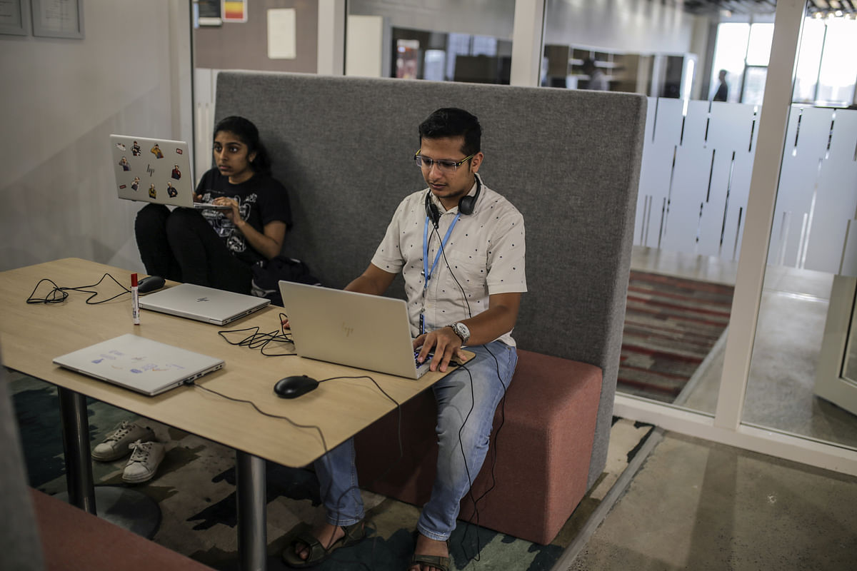 Inside the Amazon.com Inc. office campus in Hyderabad, India. (Photographer: Dhiraj Singh/Bloomberg)
