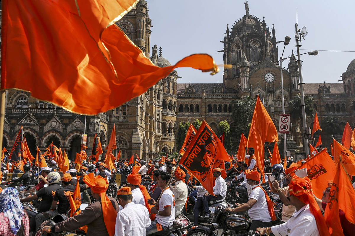 Maratha protests outside the CST railway station in Mumbai, on Nov. 6, 2016. (Photographer: Dhiraj Singh/Bloomberg)