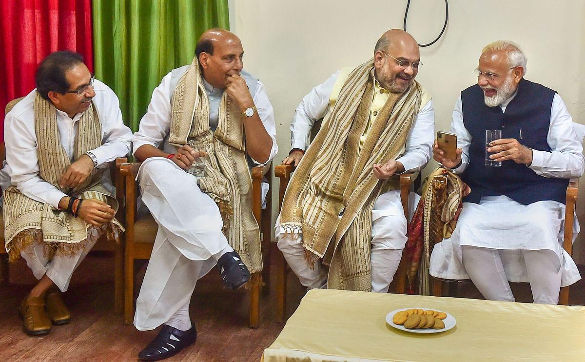 Prime Minister Narendra Modi with Amit Shah, Rajnath Singh, and Uddhav Thackeray, in Varanasi, on April 26, 2019. (Photograph: PTI)