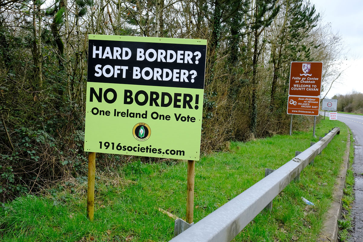 Anti-border signs stand on the Irish border  near Belturbet, County Cavan, Ireland, on March 6, 2019. (Photographer: Bryn Colton/Bloomberg)