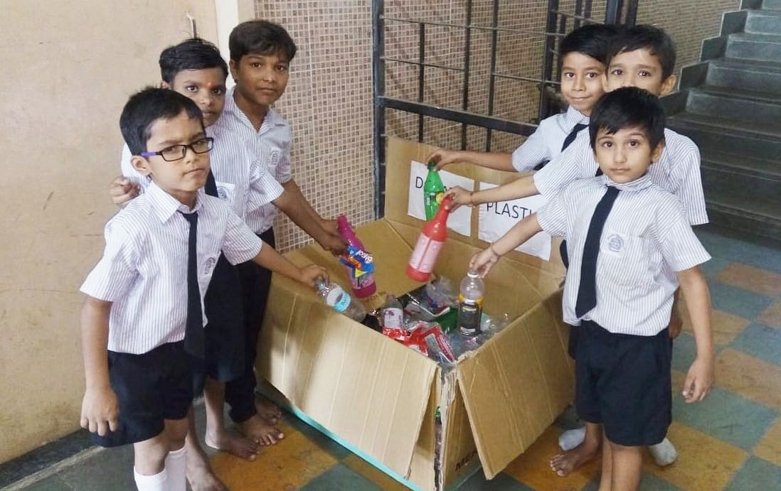Children from a school in south Mumbai kept boxes across the week collecting plastic waste. (Photograph: Shishir Joshi)