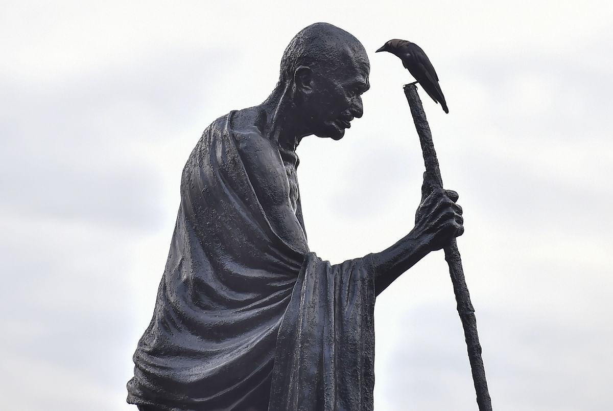 A Mahatma Gandhi statue in Kolkata. (Photograph: PTI)