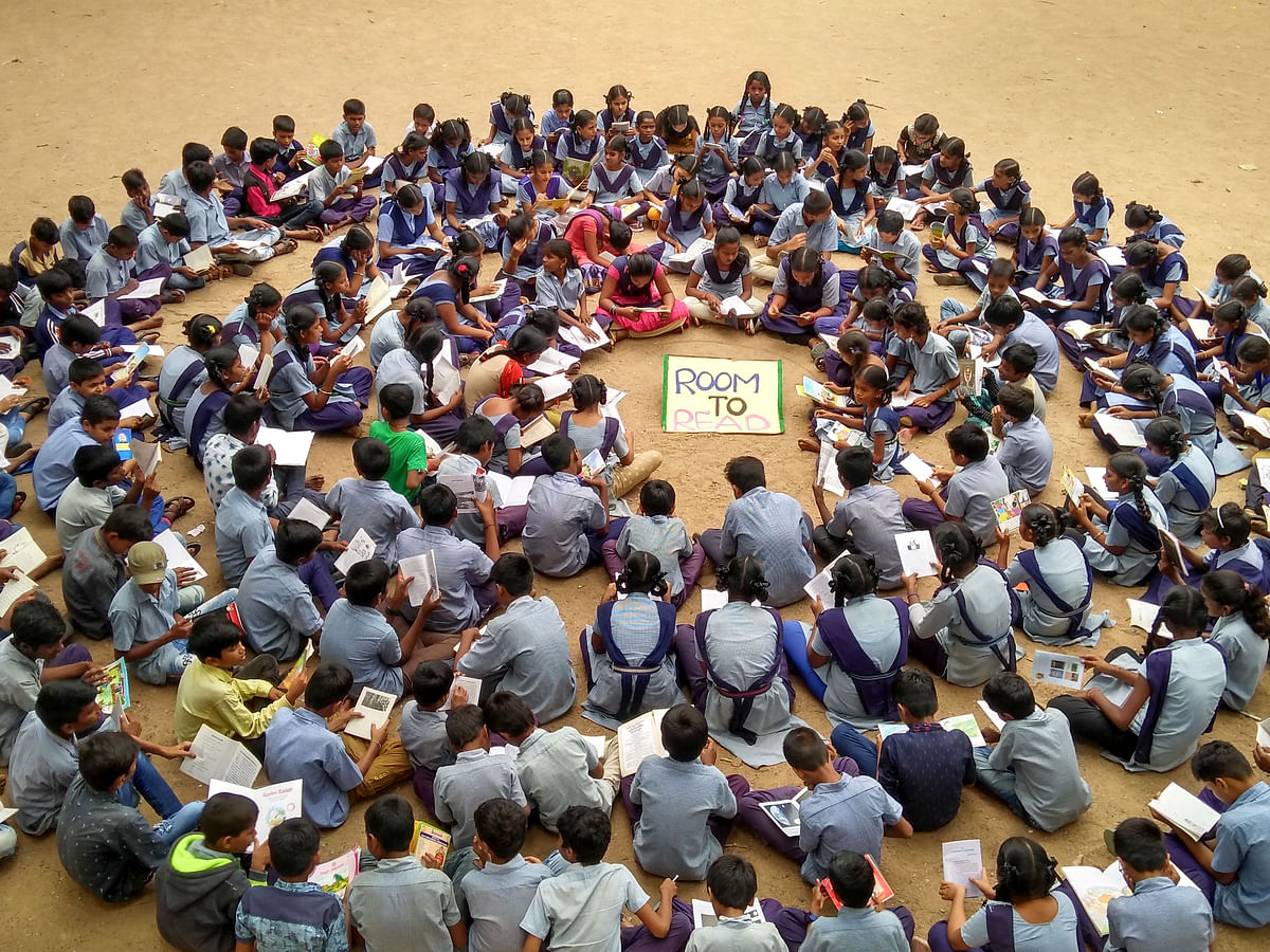 School students from government schools across nine states participate in a Read-A-Thon on the eve of Literacy Day, on Sept. 7, 2019. (Photograph: PTI)