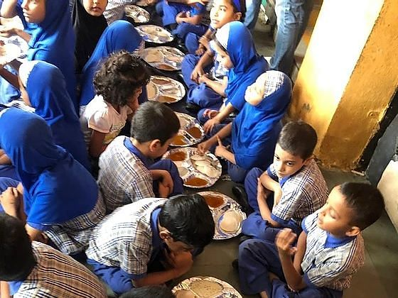 The 'Poshan To Paathshala' programme implemented in a school in Delhi. (Photograph: Feeding India)