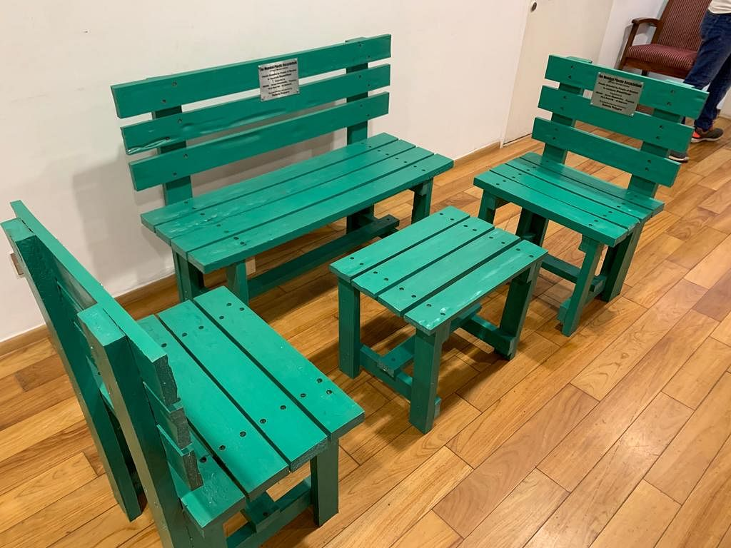 Trial benches made from last years plastic collection. (Photograph: Project Mumbai)