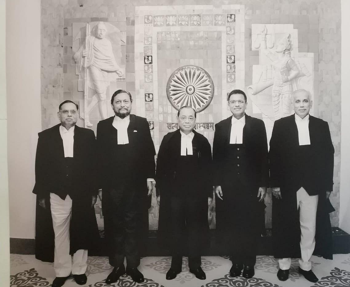 The five judge bench that decided the Ayodhya matter. From left to right, Justices Ashok Bhushan, SA Bobde, CJI Ranjan Gogoi, Dhananjay Chandrachud and SA Nazeer. (Image Courtesy: ANI)