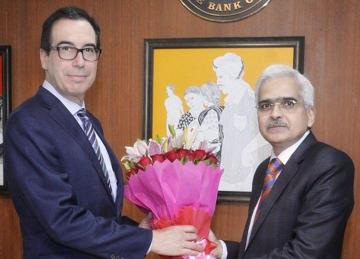 Steven Mnuchin Talks Economy With RBI Governor Shaktikanta Das