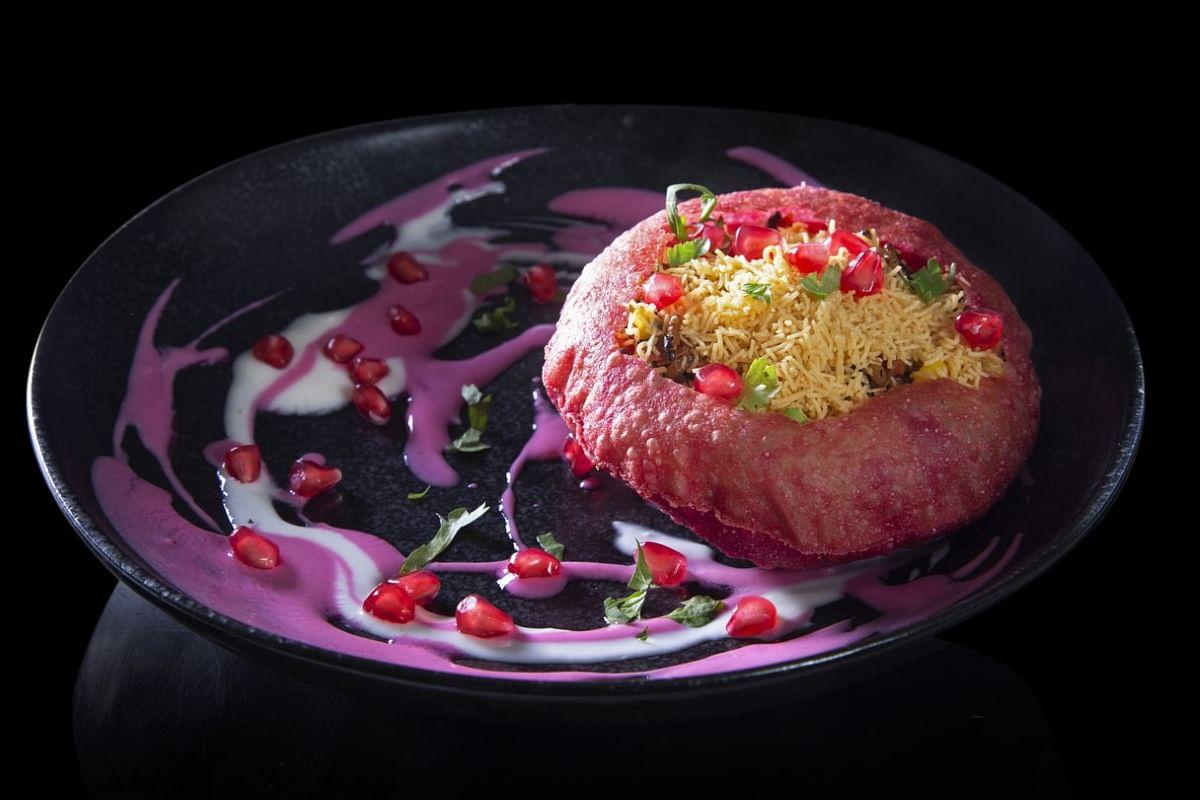 Raj puri, beetroot yoghurt, sev. Dish from Chef Vineet Bhatia's new Earth, Land and Sea menu. (Image courtesy: Ziya, The Oberoi, Mumbai)