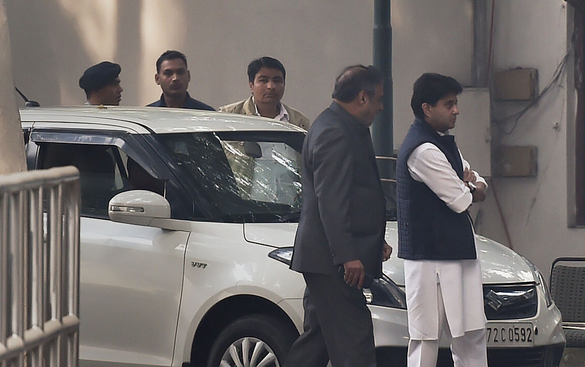 Senior Congress leaders Anand Sharma and Jyotiraditya Scindia leave after Congress Working Committee meeting at party President Sonia Gandhi's residence, at 10 Janpath, in New Delhi. (Source: PTI)