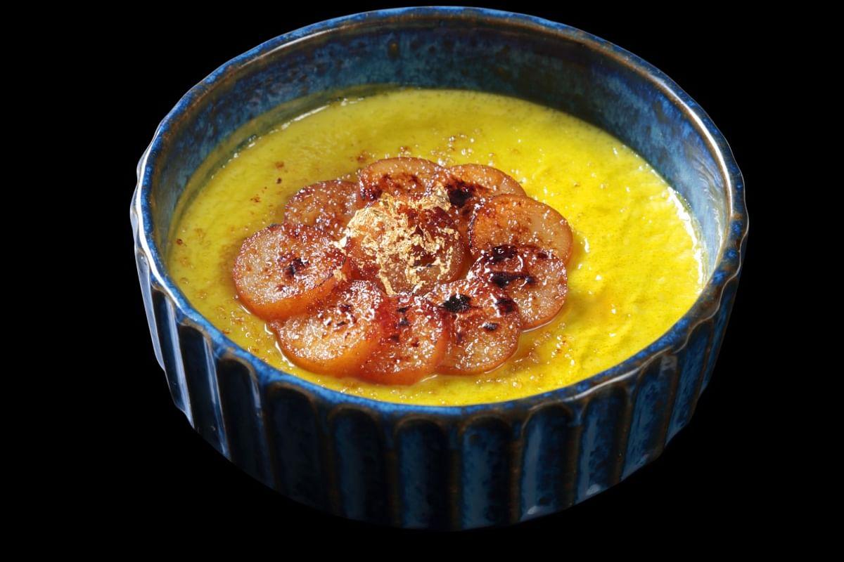 Pistachio - gulabjamun creme brulee. Dish from Chef Vineet Bhatia's new Earth, Land and Sea menu. (Image courtesy: Ziya, The Oberoi, Mumbai)