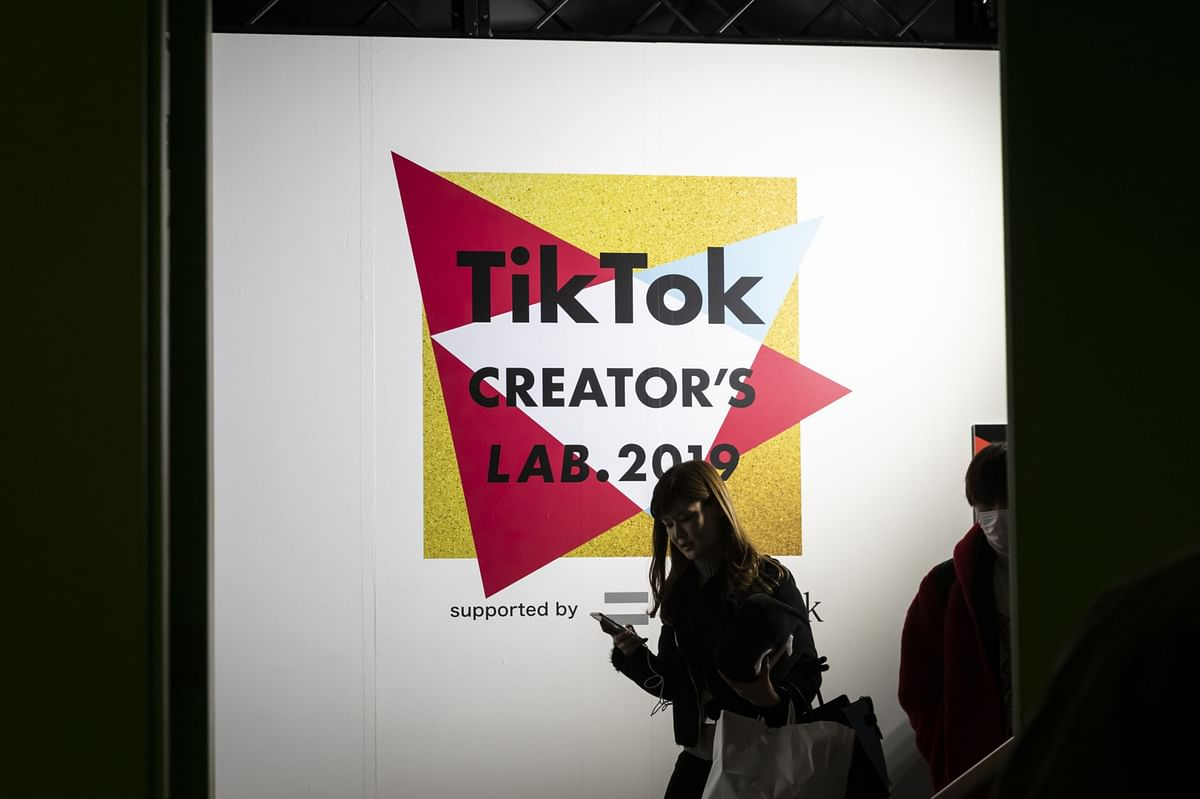 Signage is displayed at the TikTok Creator's Lab 2019 event hosted by Bytedance Ltd. in Tokyo, Japan. (Photographer: Shiho Fukada/Bloomberg)