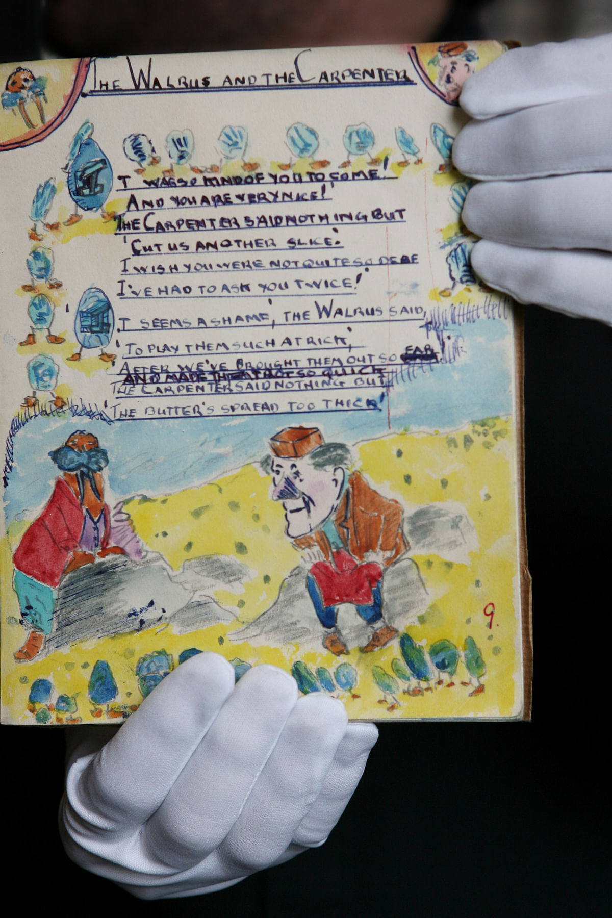 "One of John Lennon's schoolbooks which contains a drawing which allegedly inspired the song ""I Am the Walrus,"". (Photographer: Suzanne Plunkett/Bloomberg News)"
