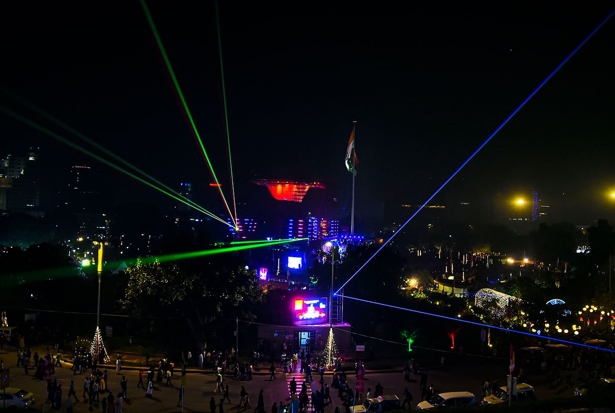 The laser show at Connaught Place in New Delhi, on Oct. 26, 2019. (Photographer: Shahbaz Khan/PTI)