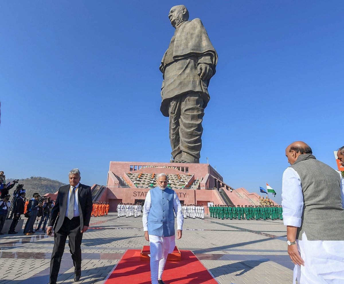 PM Narendra Modi during his visit to inspect the Ek Bharat Shreshta Bharat parade at the Statue of Unity in Kevadiya, (Source: PTI)