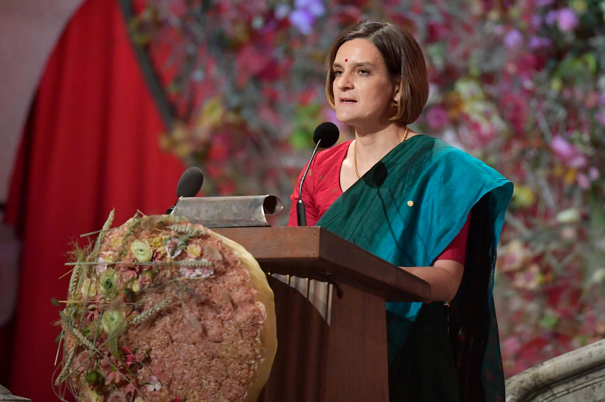 Economics Mobel Laureate Esther Duflo gives her speech during the Nobel banquet at Stockholm City Hall, in Stockholm. Sweden, on Dec. 10, 2019. (Photo: PTI)