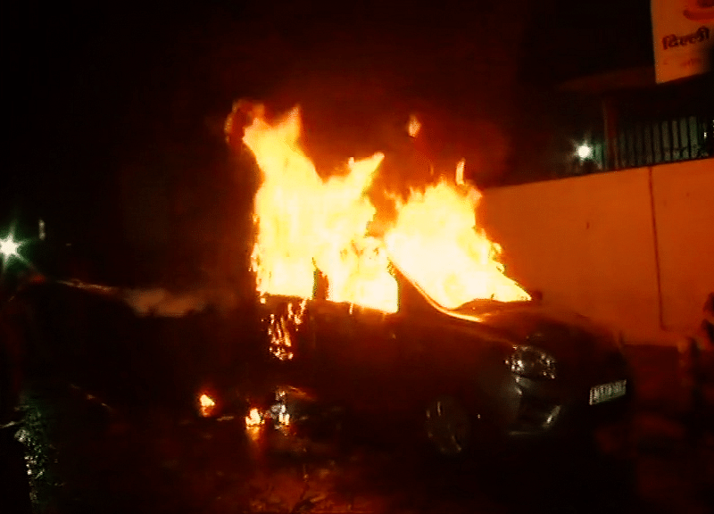 Car Set On Fire In Delhi Protest Against Citizenship Amendment Act