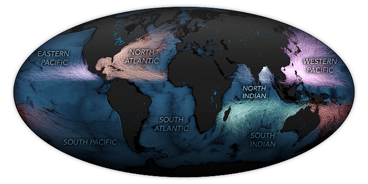 """Source: <a href=""""https://earthobservatory.nasa.gov/images/145841/spate-of-cyclones-in-the-north-indian-ocean"""">Earth Observatory, NASA </a>The North Indian basin where Arabian sea is one of the least active regions for cyclones in the northern hemisphere and sees on an average 4.8 storms every year."""