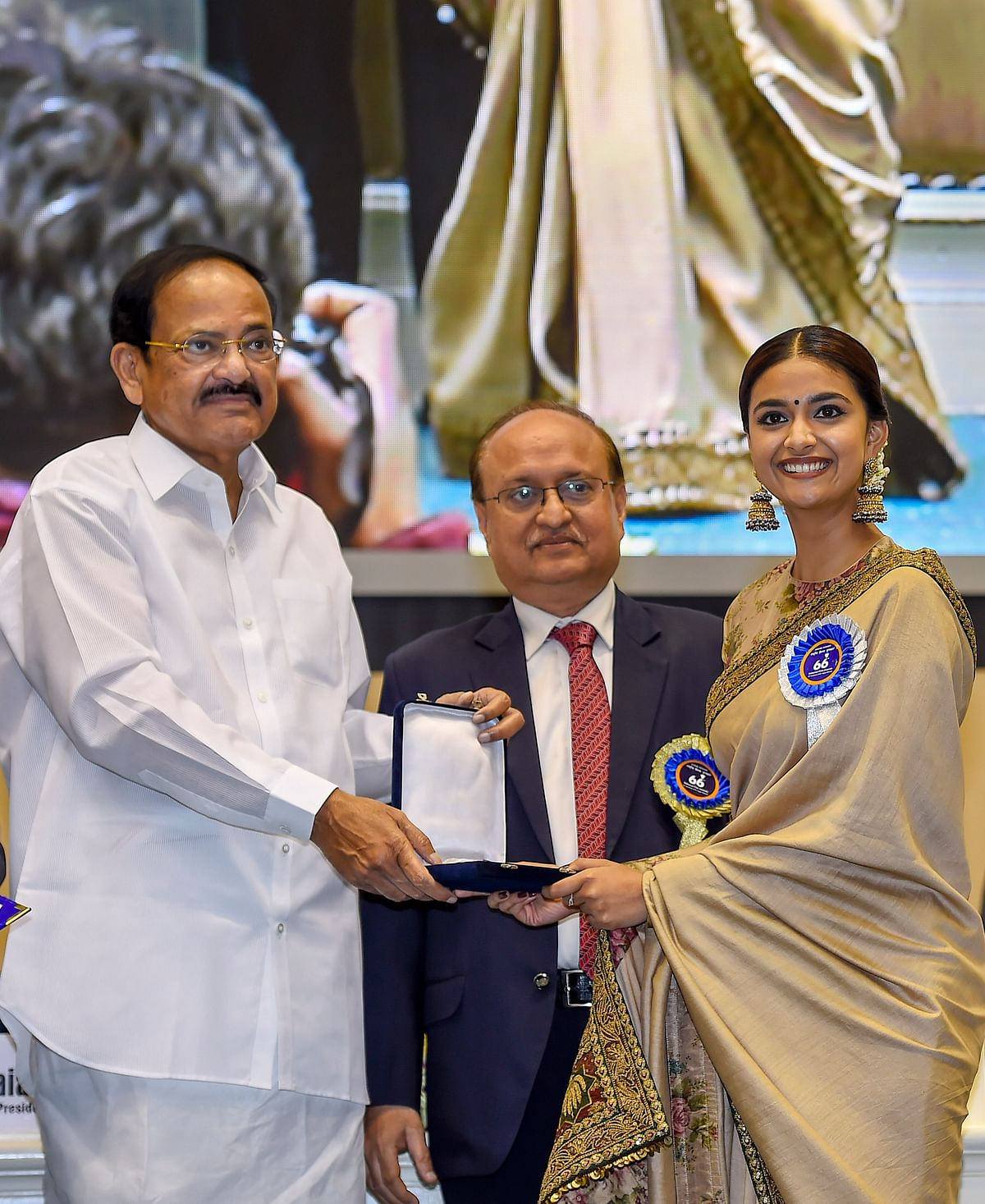 Vice President M Venkaiah Naidu presents Best Actress award to actress Keerthy Suresh for her role in Mahanati during the 66th National Film Awards function at Vigyan Bhavan in New Delhi. (PTI)
