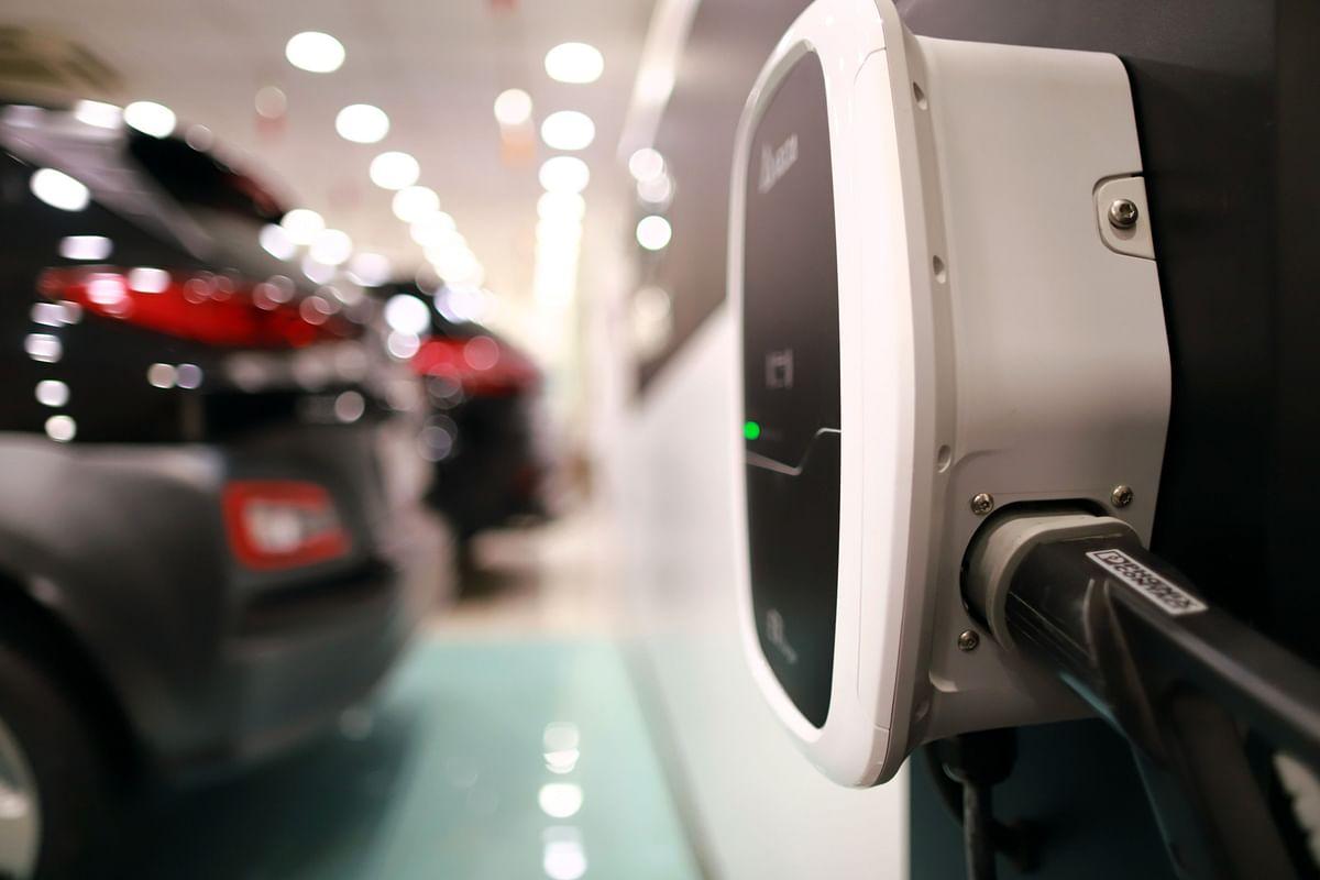 A charger for Hyundai Kona electric vehicle is seen at the company's Koncept Hyundai showroom in New Delhi, India. (Photographer: Anindito Mukherjee/Bloomberg)