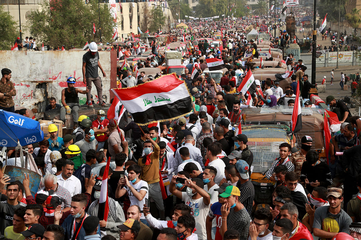 Anti-government protesters march in Baghdad, Iraq, on Nov. 3, 2019. (Photograph: AP/PTI)
