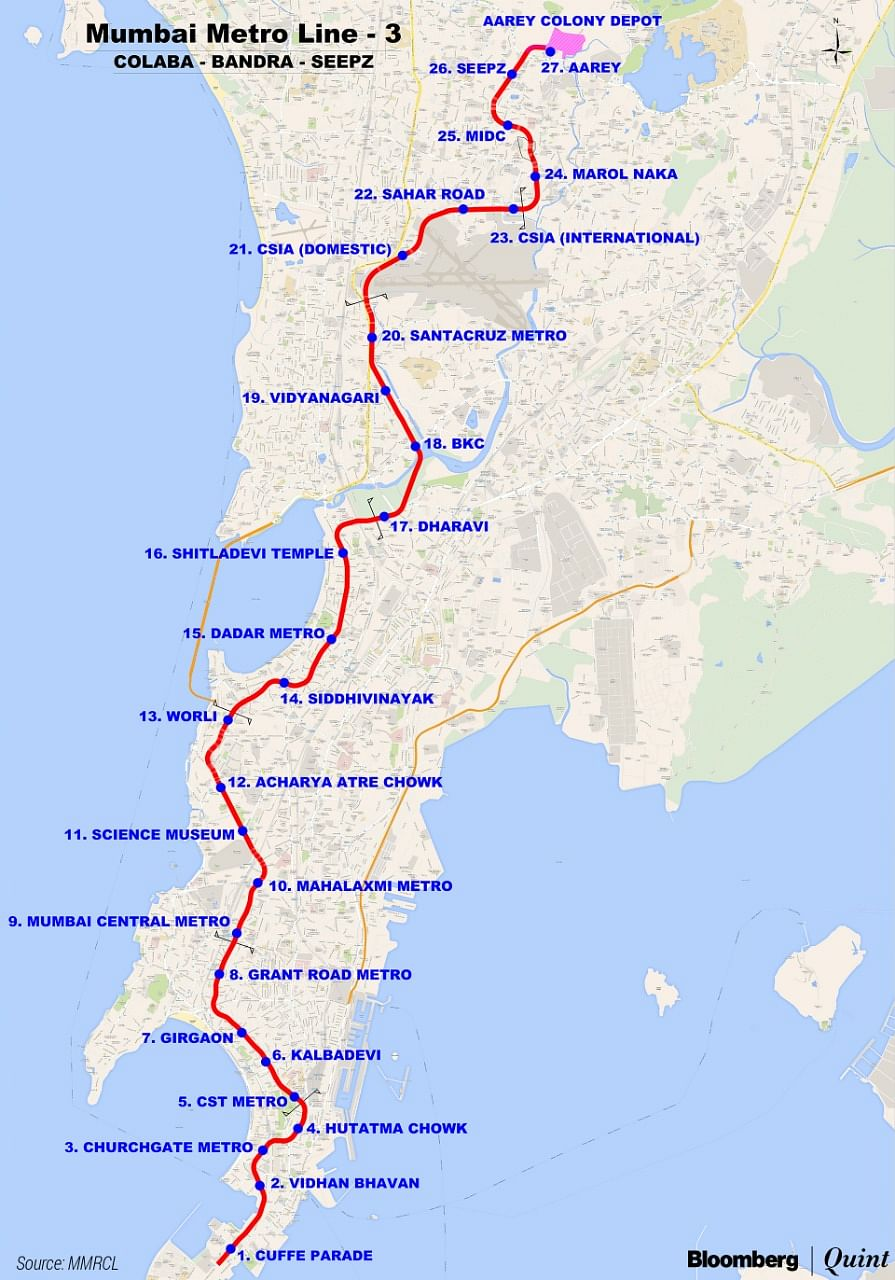 Route map of the Mumbai Metro Line 3. (Photo credit:  MMRCL)
