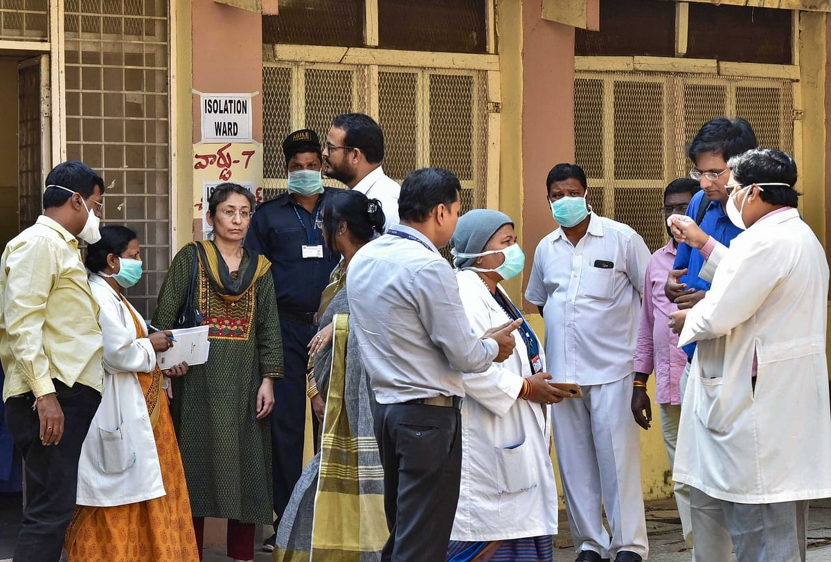 A central team visits the Special Isolation Ward set up to provide treatment to any suspected case of the coronavirus at a hospital, in Hyderabad, Tuesday, Jan. 28, 2020. (Source: PTI)