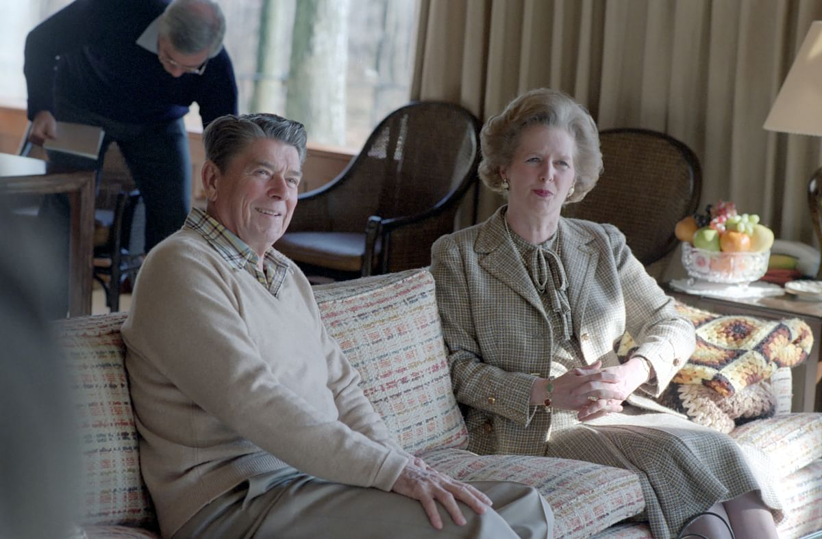 Ronald Reagan and Margaret Thatcher at Camp David in 1984. (Photograph: U.S. National Archives)