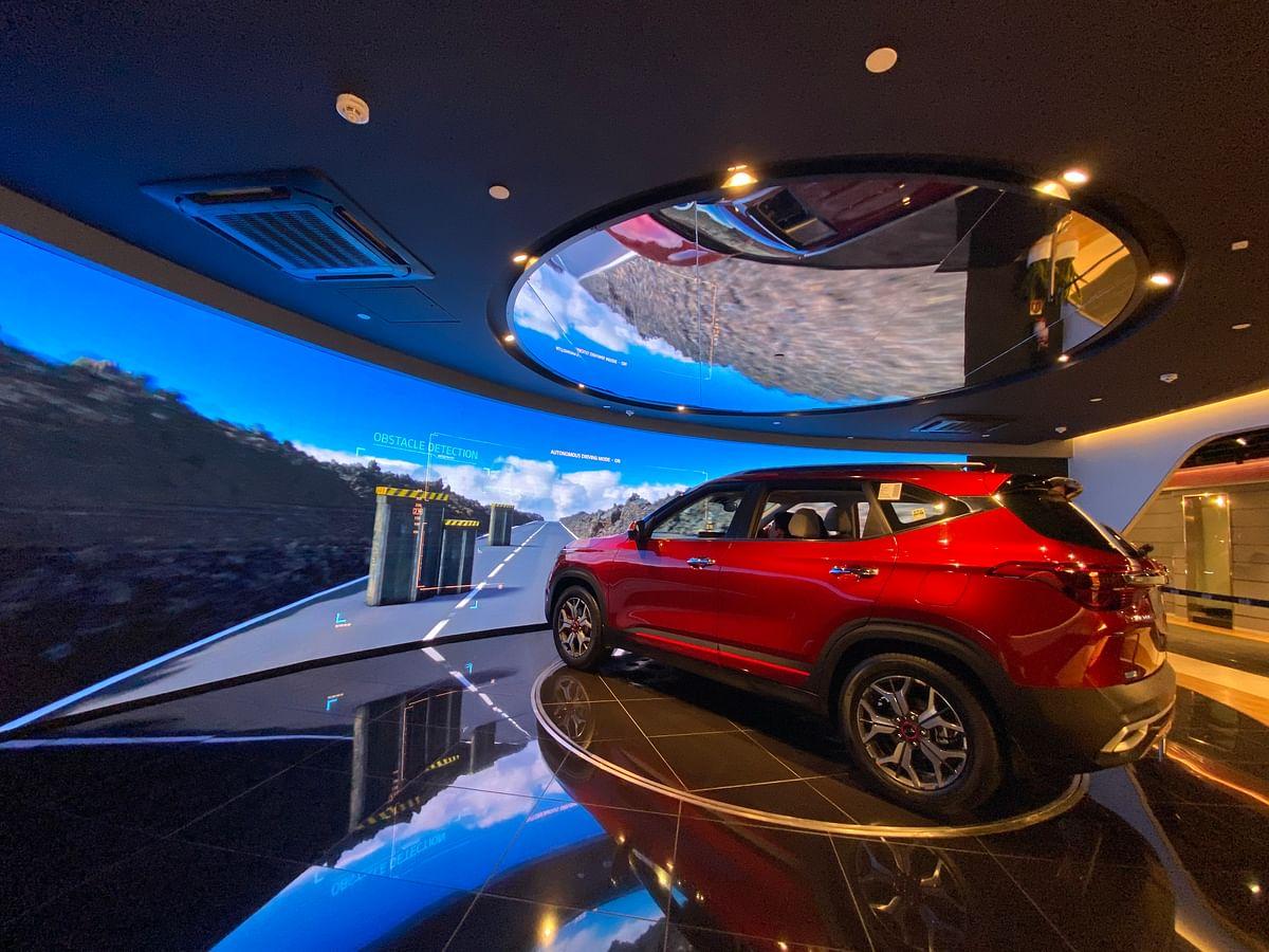 The Seltos SUV is pictured at Kia Motors' showroom in Gurugram, India. (Photographer; Nishant sharma/BloombergQuint)
