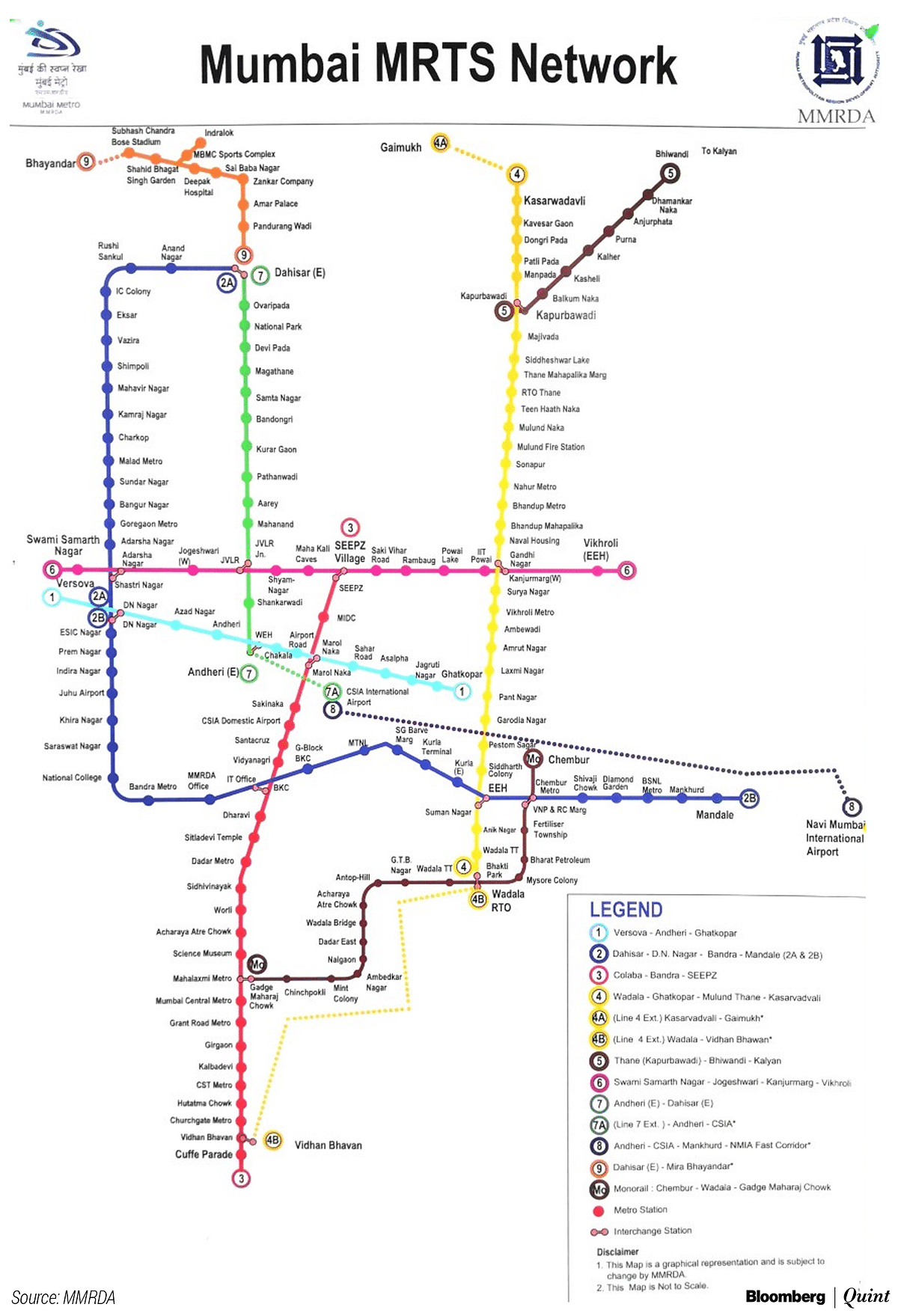Route map of all lines of the Mumbai Metro and the Mumbai Monorail. (Photo credit:  MMRDA)