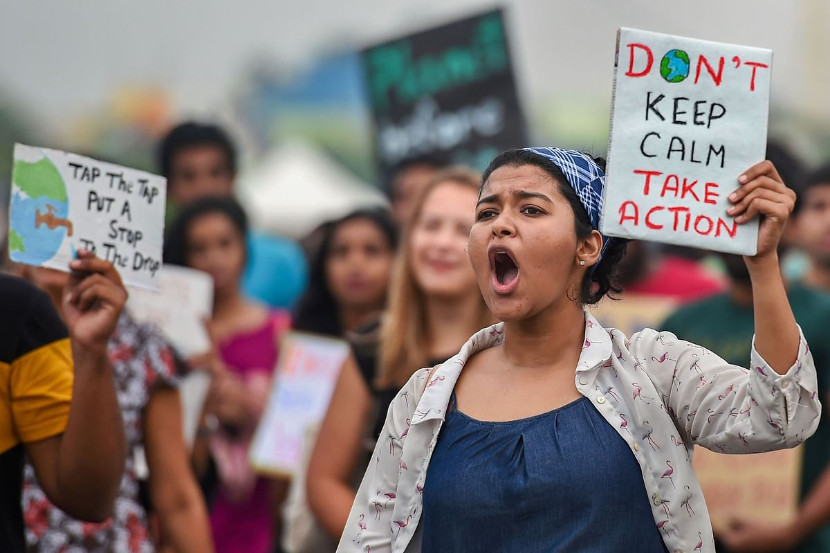 Students at  the Global Climate Strike rally in Chennai, on Sept. 22, 2019. (Photograph: PTI)
