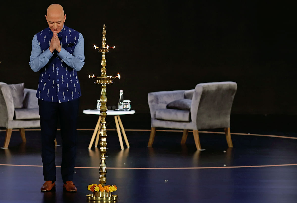 Jeff Bezos, founder and chief executive officer of Amazon.com Inc., during the opening session of Amazon SmBhav event in New Delhi, India, on Wednesday, Jan. 15, 2020. (Photographer: Anindito Mukherjee/Bloomberg)