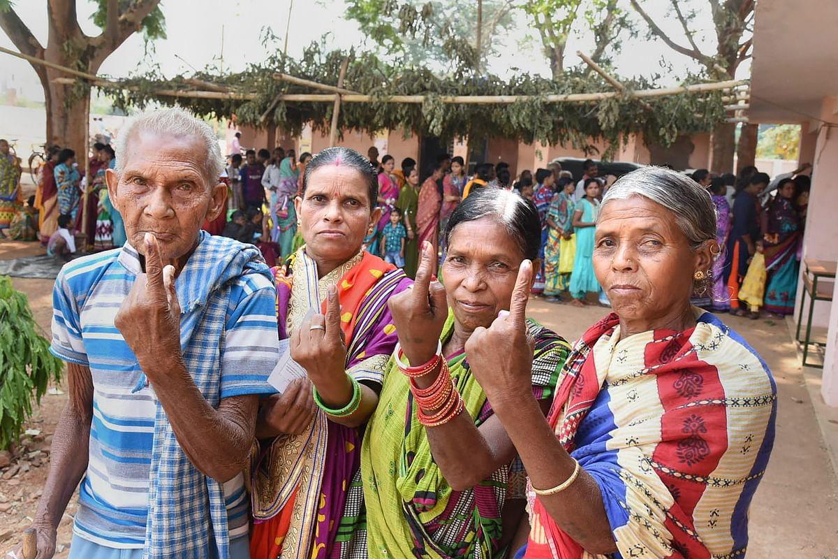 Elderly voters at a polling booth in Kandhamal, Odisha, in April 2019. (Photograph: PTI)