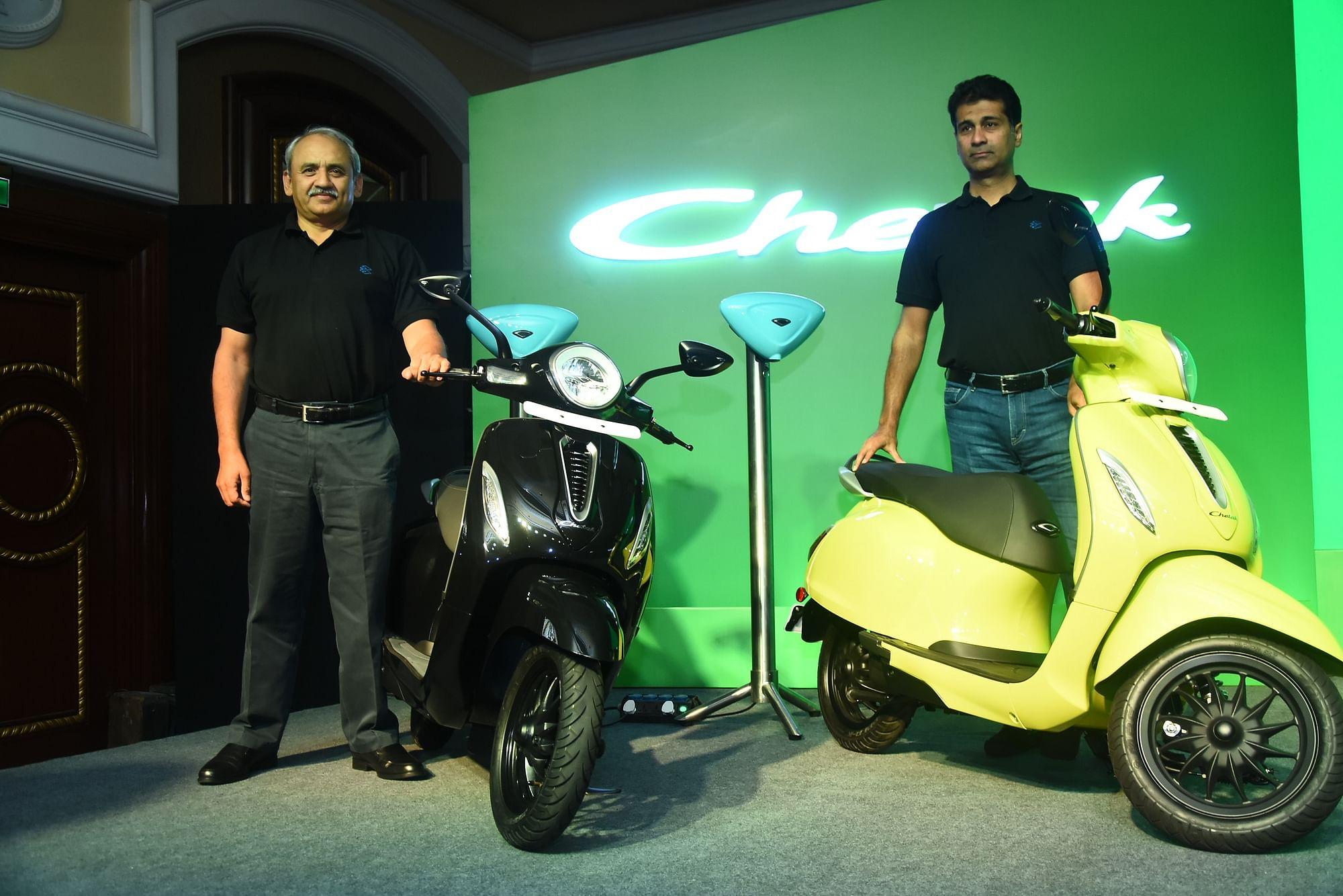 Bajaj Auto's Managing Director Rajiv Bajaj, right, and Executive Director Rakesh Sharma at the launch of the Bajaj Chetal electric scooter in Mumbai, India, on Tuesday, Jan 14., 2020. (Photo: Bajaj Auto)