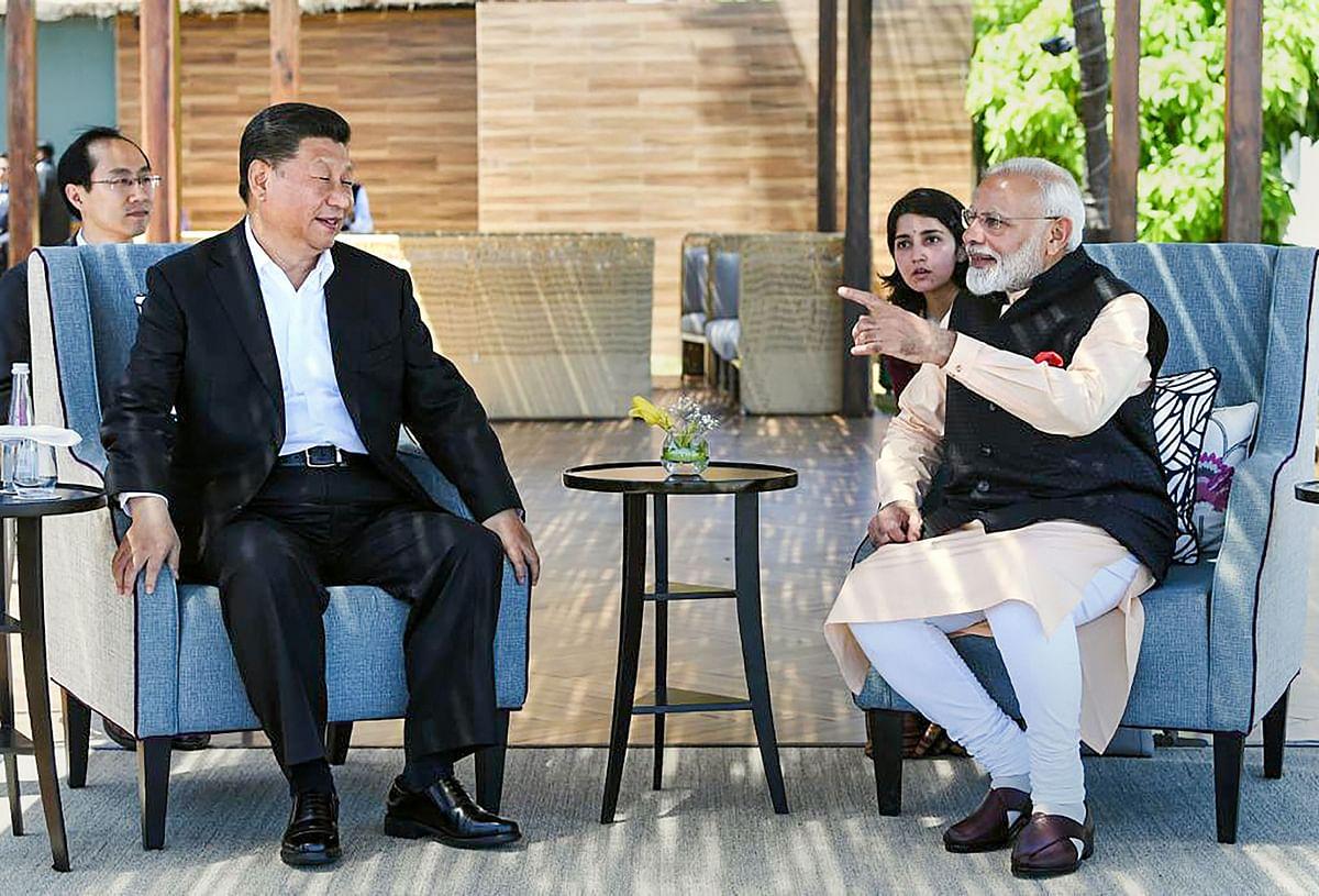 Prime Minister Narendra Modi with Chinese President Xi Jinping in Mamallapuram, on Oct. 12, 2019. (Photograph: PTI)