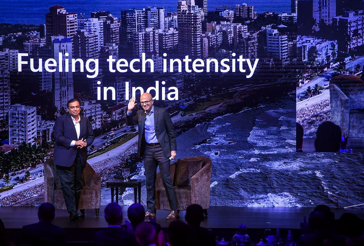 Reliance Industries' CMD Mukesh Ambani with Microsoft CEO Satya Nadella, in New Delhi, on Feb. 24, 2020. (Photograph: PTI)