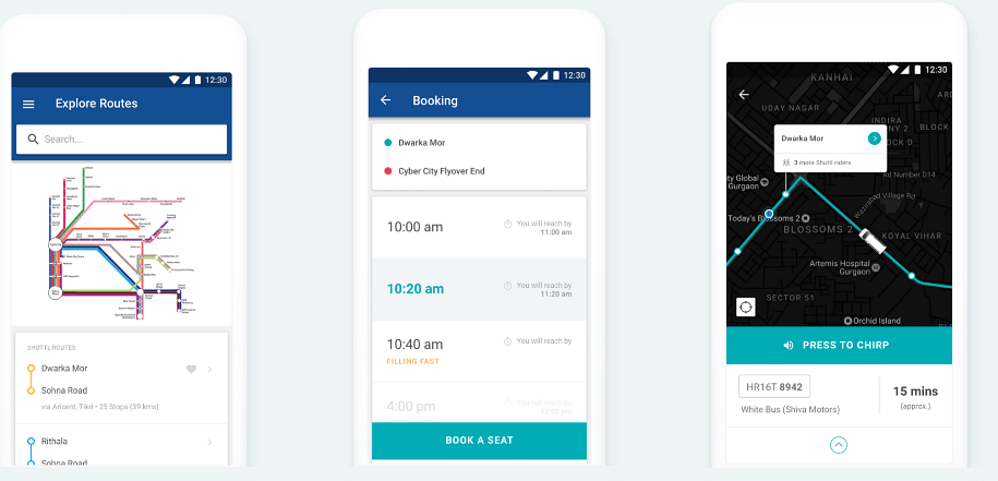 Passengers can discover best routes in and around their city, reserve a seat, and track it in real time. (Image courtesy: Shuttl)