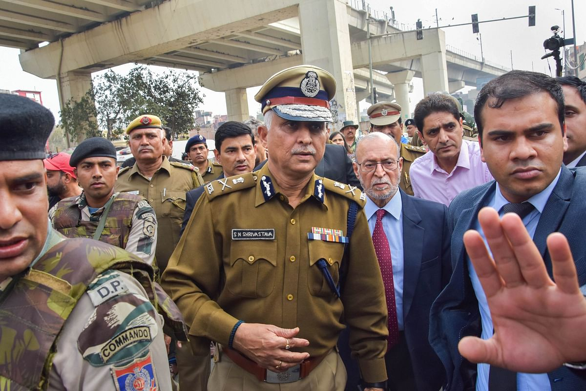 Delhi Police Commissioner SN Shrivastava along with Lt Governor Anil Baijal inspects Maujpur Chowk area of the riot-affected northeast Delhi (Source: PTI)